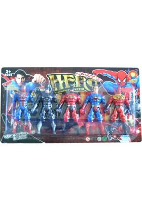 50Bir Yenilmezler Süper Kahramanlar Serisi Işıklı Eklemli Figür