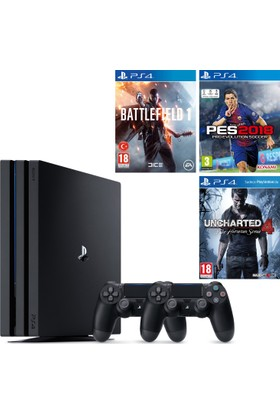 Sony Playstation 4 Pro 1 Tb ( Ps4 Pro ) + 2. Ps4 Kol + Ps4 Pes 2018 + Ps4 Battlefield 1 + Ps4 Uncharted 4