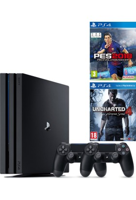 Sony Playstation 4 Pro 1 Tb ( Ps4 Pro ) + 2. Ps4 Kol + Ps4 Pes 2018 + Ps4 Uncharted 4 ( Türkçe )
