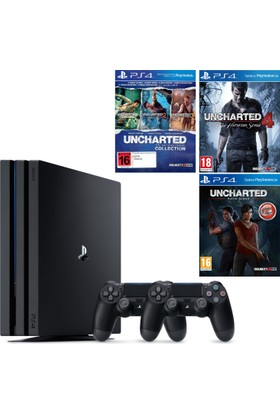 Sony Playstation 4 Pro 1 Tb ( Ps4 Pro ) + 2. Ps4 Kol + Ps4 Uncharted Collection + Ps4 Uncharted 4 + Ps4 Uncharted Kayip Miras