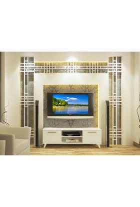 Eyibil Mobilya Mızrak 140 Cm Tv Sehpası Tv Ünitesi Parlak Beyaz