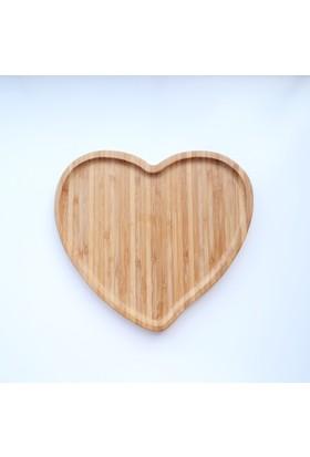 Dk Bambu 22 Cm Kalp Şekilli Servis Tepsisi Sunum Tepsi 2221