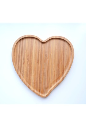 Dk Bambu 27 Cm Kalp Şekilli Servis Tepsisi Sunum Tepsi