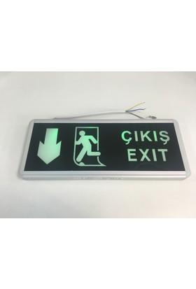 Global Lighting Ledli Exit Armatür Acil Çıkış Levhası 3 Saat Şarjlı AŞAĞI