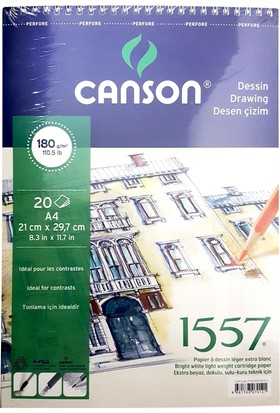 Canson 1557 Desen Çizim Defteri 180Gr. 20 Yaprak, A4
