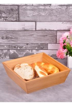 Bayev Ahşap Bambu Kare Büyük Ekmek Sepeti (P/Ahs-700282)