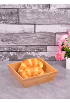 Bayev Ahşap Bambu Kare Küçük Ekmek Sepeti (P/Ahs-700281)