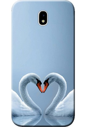 Kılıf Merkezi Samsung Galaxy J7 Pro Sm-J730 Kuğ Ve Kalp Baskılı Silikon Kılıf