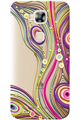 Kılıf Merkezi Huawei G8 Renkli Çizgi Baskılı Silikon Kılıf