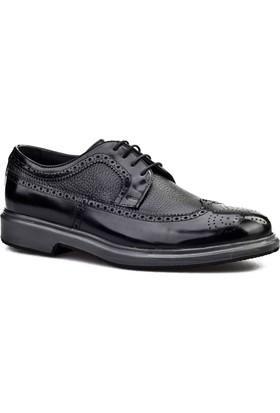 Cabani Lazerli Oxford Erkek Ayakkabı Siyah Antik Deri