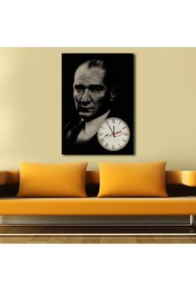 Yedirenkdekor Atatürk Saatli Dekoratif Tek Parça Kanvas Tablo