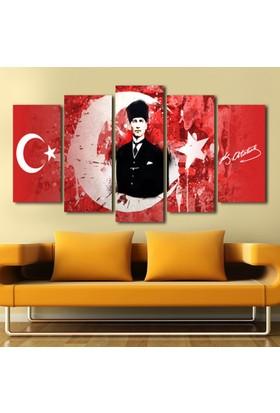 Yedirenkdekor Türk Bayrağı Atatürk Dekoratif 5 Parça Kanvas Tablo