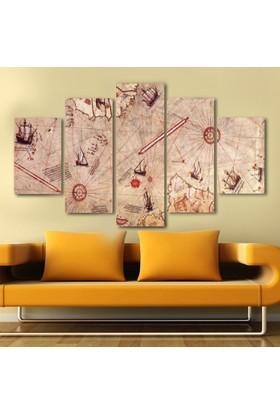 Yedirenkdekor Piri Reis Harita Dekoratif 5 Parça Kanvas Tablo