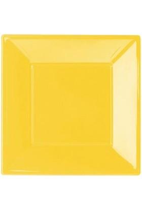 Partioutlet Sarı Plastik Kare Tabak