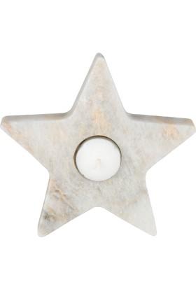Marblection Beyaz Yıldız Mumluk