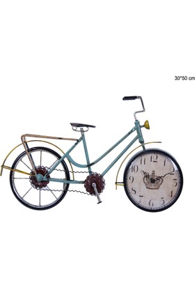 Lucky Art Metal Mavi Bisiklet Saat 30*50Cm Hw024