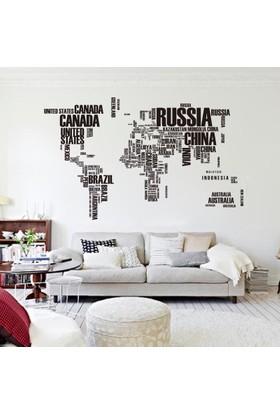 Zooyoo Dünya Haritası Ülke Adları Xxl Duvar Sticker Dünya Ülkeleri Atlas Dekor 190X116 Cm