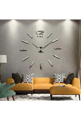 Dıy Clock Yeni Nesil 3D Duvar Saati Model 1 (Gümüş Ayna)