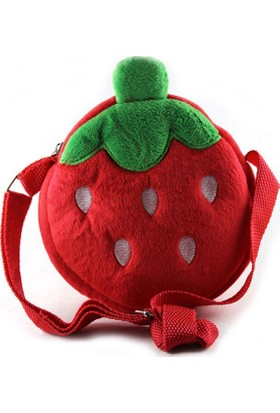 Veronya Kırmızı Çilek Tasarımlı Kız Çocuk Çantası Çilek Çanta- 6 Yaş Ve Altı Kız Çocukları İçin Çanta-Omuz Çantası