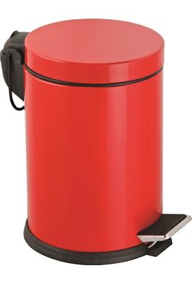 5 Lt.Renkli Pedallı Çöp Kovası Kırmızı