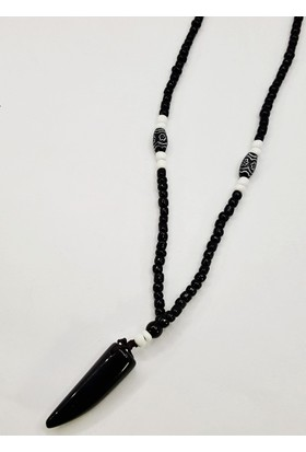 Fonnava Siyah Renkli Fildişi Figürlü Erkek Kolye Tb0165