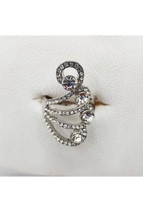 Fonnava Gümüş Renkli Dört Taşlı Şık Bayan Yüzük Tb0458