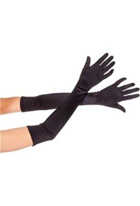 Fonnava Siyah Renk Uzun Saten Eldiven