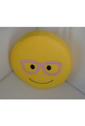 Fonnava Nakış İşlemeli Fermuarlı Polar Emoji Yastık Gözlüklü
