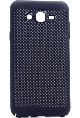 Case 4U Samsung Galaxy C7 Core Delikli Arka Kapak Siyah