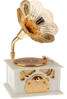 Pratik Gramofon Müzik Kutusu Beyaz