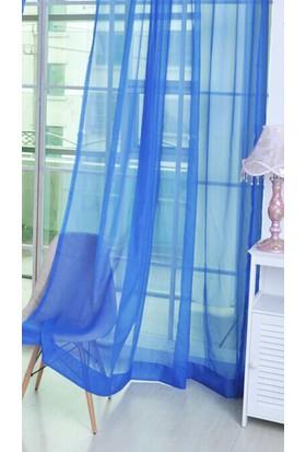 Belle Cose Hazır Mavi Tül Perde Düz Dikim 140X270