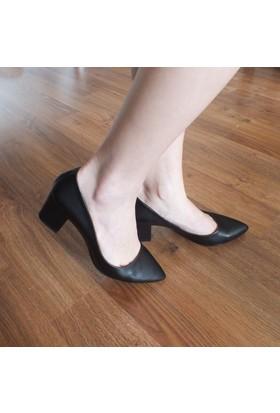 Modabuymus Kalın Topuklu Kısa Stiletto Kadın Ayakkabı