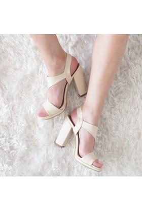Modabuymus Platform Kalın Topuk Asimetrik Kadın Ayakkabı
