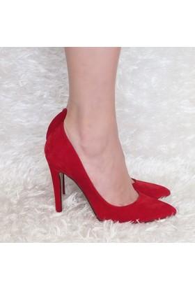 Modabuymus Kırmızı Süet Stiletto Topuklu Kadın Ayakkabı