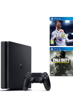 Sony Ps4 Slim 500Gb Oyun Konsolu + Ps4 Fifa 18 + Ps4 Call Of Duty İnfinite Warfare