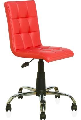 Seduna Duru Kırmızı Deri Çalışma Koltuğu - Metal Ayaklı - Ofis Koltuğu