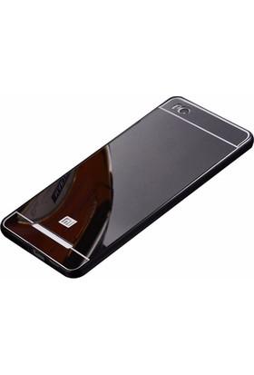 Case 4U Xiaomi Redmi 4A Aynalı Metal Kapak Kılıf Siyah + Temperli Cam Ekran Koruyucu