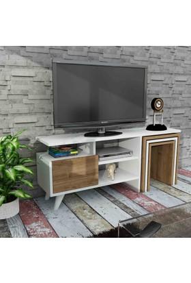 Dekorister Nature Zigon Sehpalı Tv Ünitesi - Tv Sehpası Beyaz-Ceviz