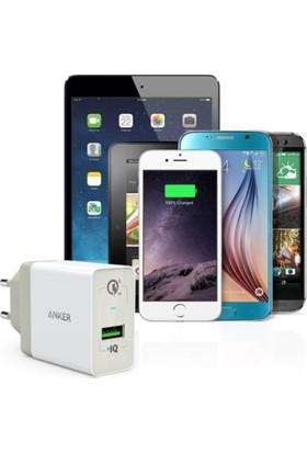 Anker PowerPort+1 QuickCharge 3.0 Hızlı Şarj Cihazı ve Anker 0.9 Mt Micro USB Kablo Beyaz