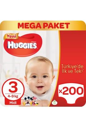Huggies Bebek Bezi Midi 3 Beden Mega Paket 200 Adet