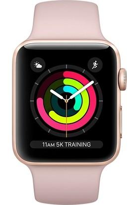 Apple Watch Seri 3 42mm Altın Rengi Alüminyum Kasa ve Kum Pembesi Spor Kordon - MQL22TU/A