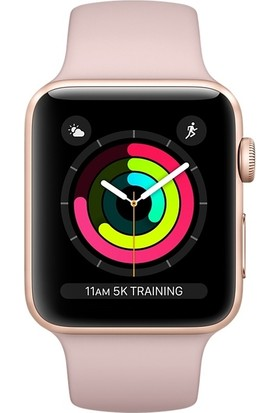 Apple Watch Seri 3 38mm Altın Rengi Alüminyum Kasa ve Kum Pembesi Spor Kordon - MQKW2TU/A
