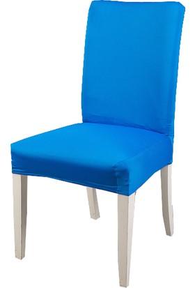 Masho Trend Mavi Sandalye Örtüsü Likralı Yıkanabilir Sandalye Kılıfı