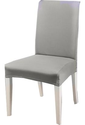 Masho Trend Gri Sandalye Örtüsü Likralı Yıkanabilir Sandalye Kılıfı