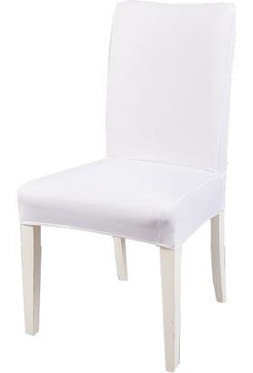 Masho Trend Beyaz Sandalye Örtüsü Likralı Yıkanabilir Sandalye Kılıfı