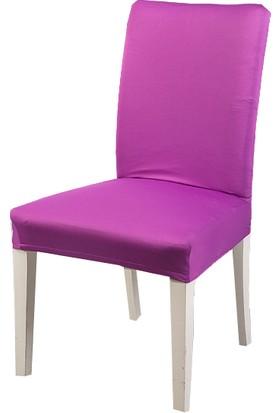 Masho Trend Mürdüm Sandalye Örtüsü Likralı Yıkanabilir Sandalye Kılıfı