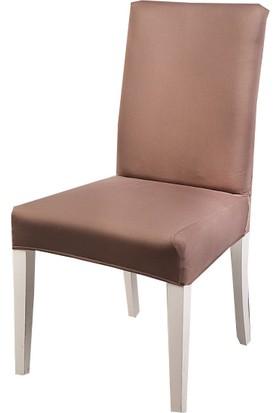 Masho Trend Kahverengi Sandalye Örtüsü Likralı Yıkanabilir Sandalye Kılıfı