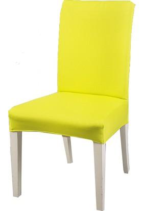Masho Trend Sarı Sandalye Örtüsü Likralı Yıkanabilir Sandalye Kılıfı