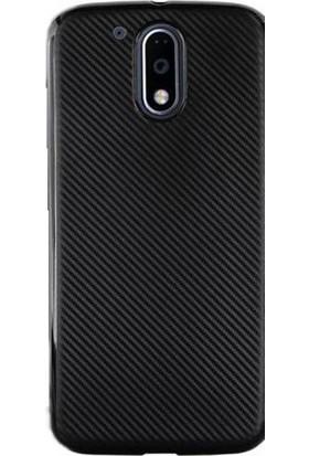 Gpack Motorola Moto G4 Plus Kılıf Carbon Fiber Silikon Case +Cam