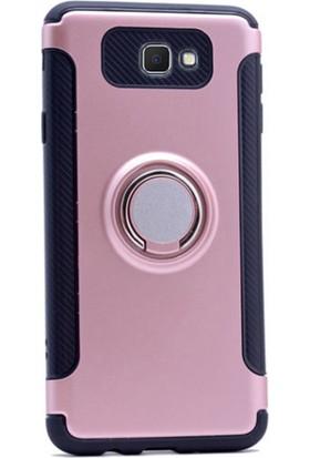 Gpack Samsung Galaxy J7 Prime Kılıf Yüzüklü Standlı Darbe Emici +Kalem+Cam
